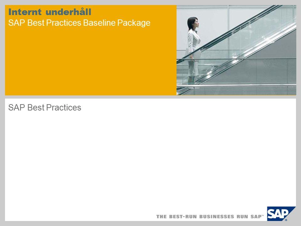 Internt underhåll SAP Best Practices Baseline Package