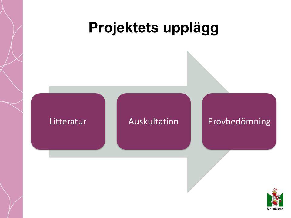 Projektets upplägg Litteratur Auskultation Provbedömning