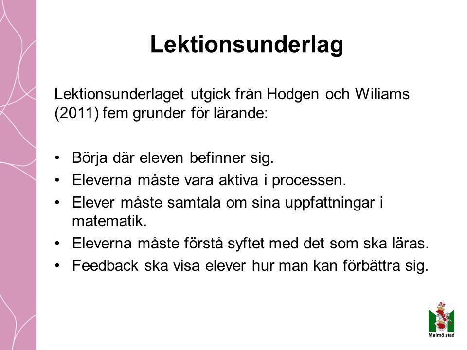 Lektionsunderlag Lektionsunderlaget utgick från Hodgen och Wiliams (2011) fem grunder för lärande: Börja där eleven befinner sig.