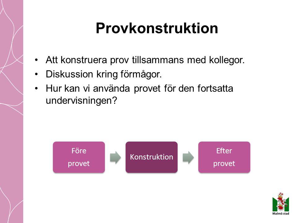 Provkonstruktion Att konstruera prov tillsammans med kollegor.