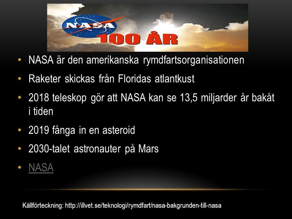 NASA är den amerikanska rymdfartsorganisationen