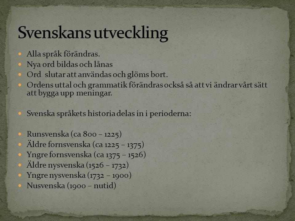 Svenskans utveckling Alla språk förändras. Nya ord bildas och lånas