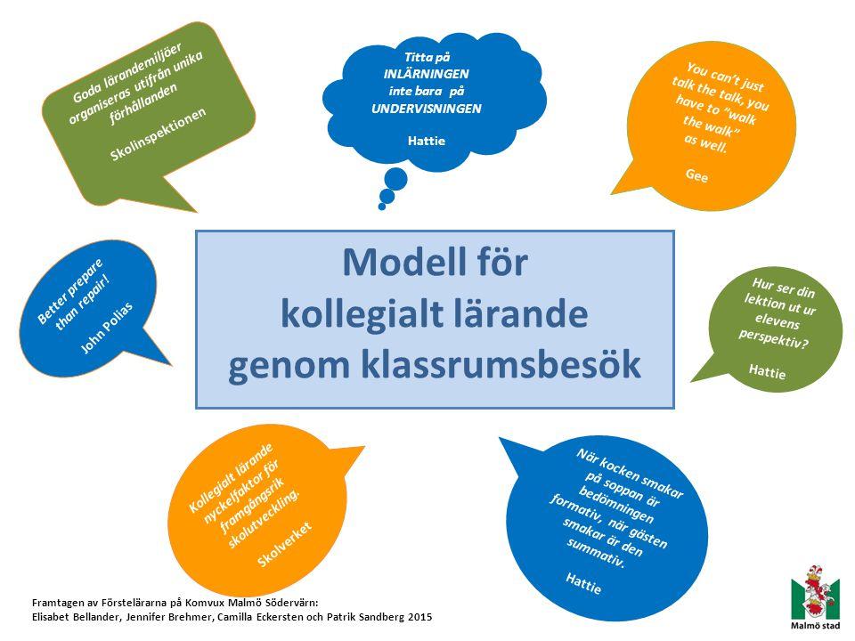 Modell för kollegialt lärande genom klassrumsbesök
