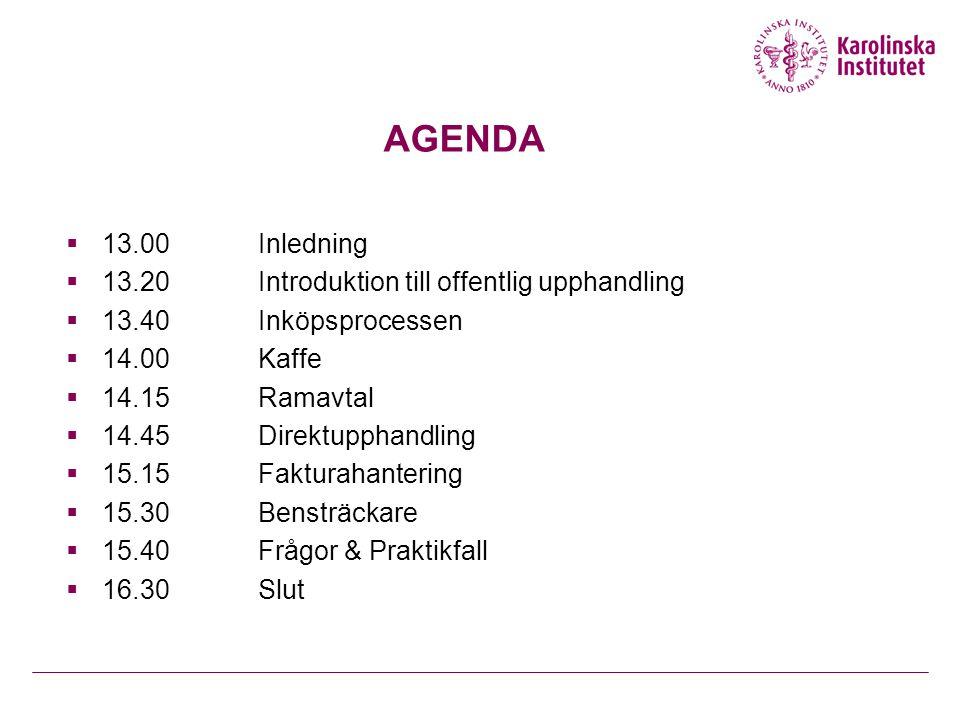 AGENDA 13.00 Inledning 13.20 Introduktion till offentlig upphandling