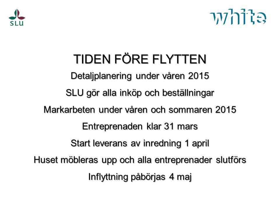 TIDEN FÖRE FLYTTEN Detaljplanering under våren 2015
