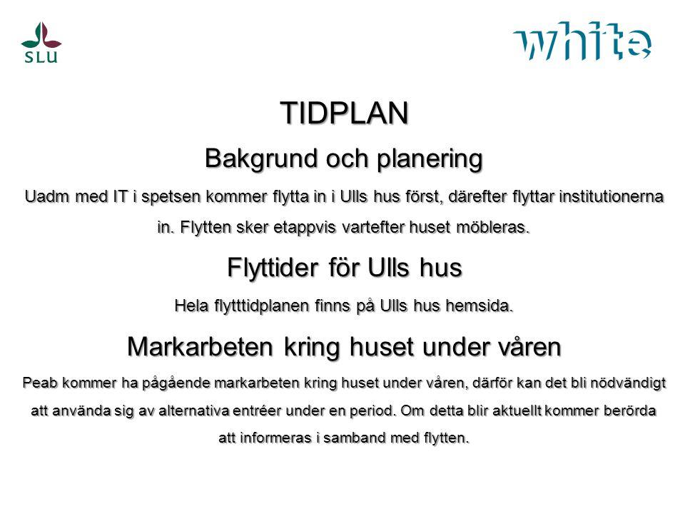 TIDPLAN Bakgrund och planering Flyttider för Ulls hus