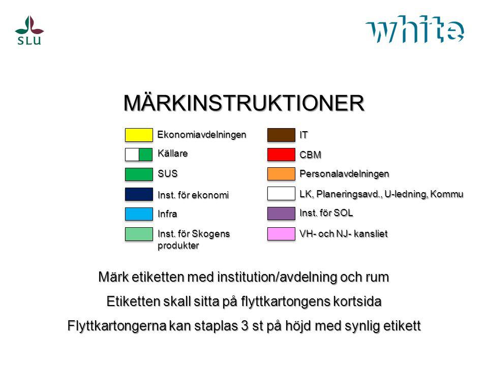 MÄRKINSTRUKTIONER Märk etiketten med institution/avdelning och rum