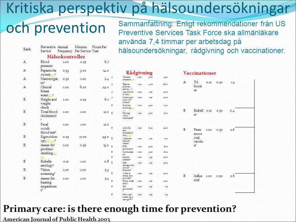 Kritiska perspektiv på hälsoundersökningar och prevention