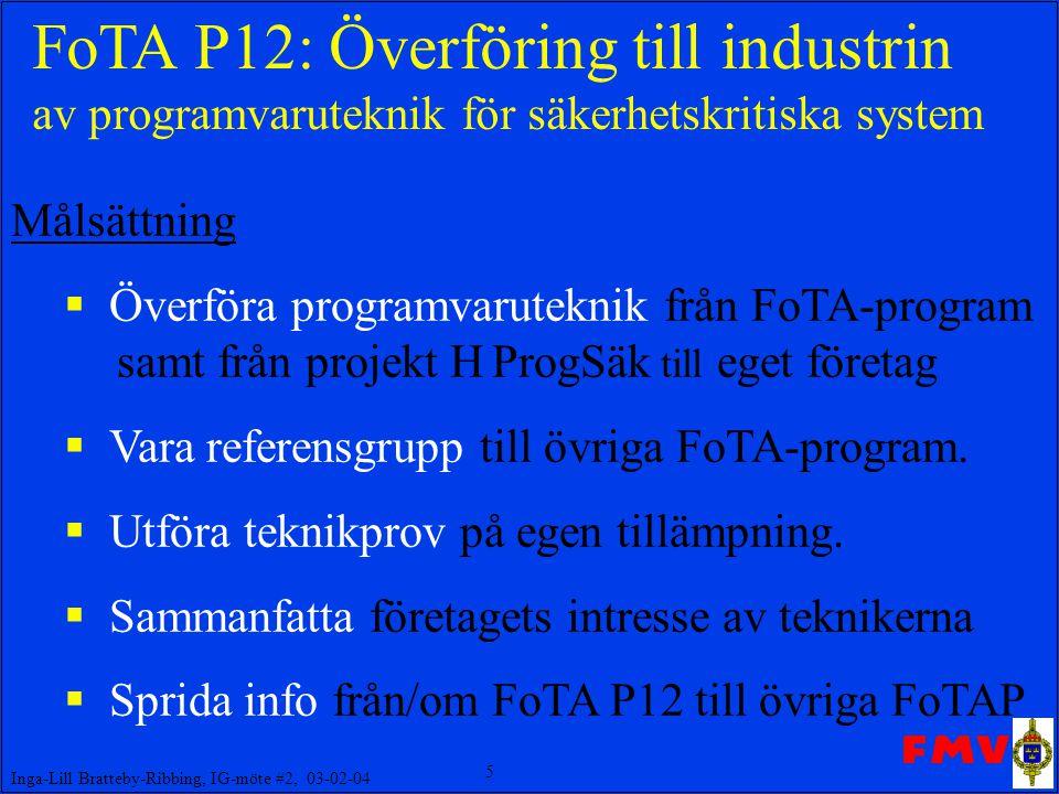 FoTA P12: Överföring till industrin