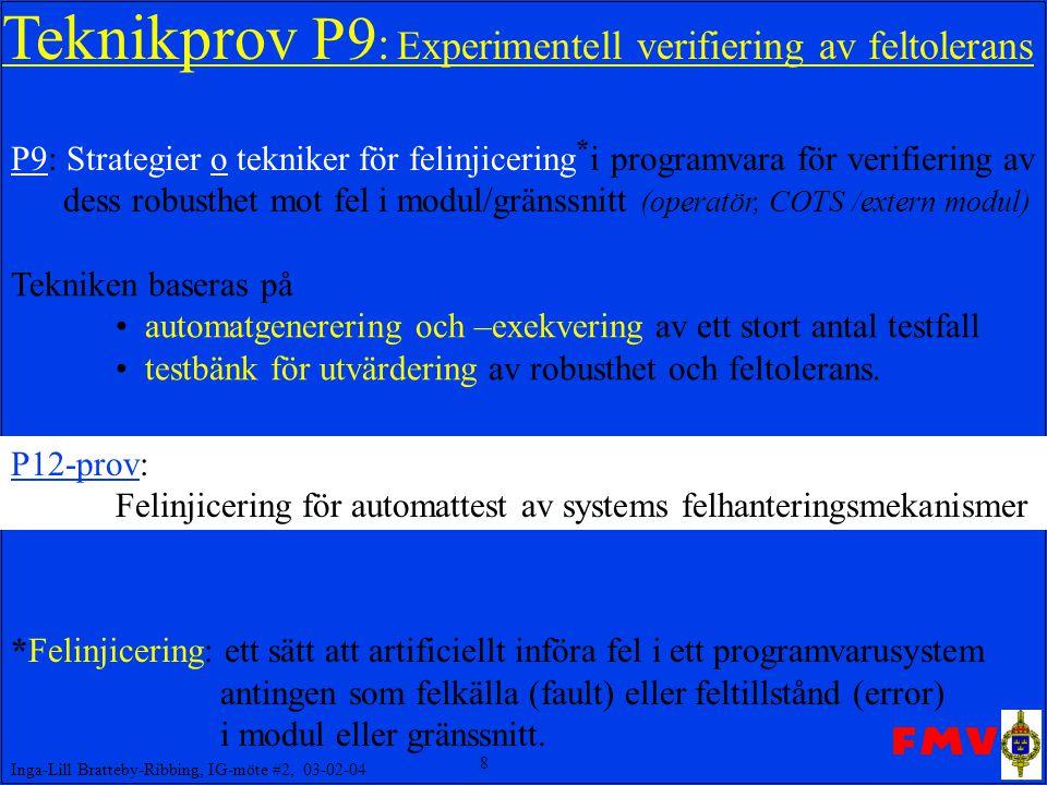 Teknikprov P9: Experimentell verifiering av feltolerans