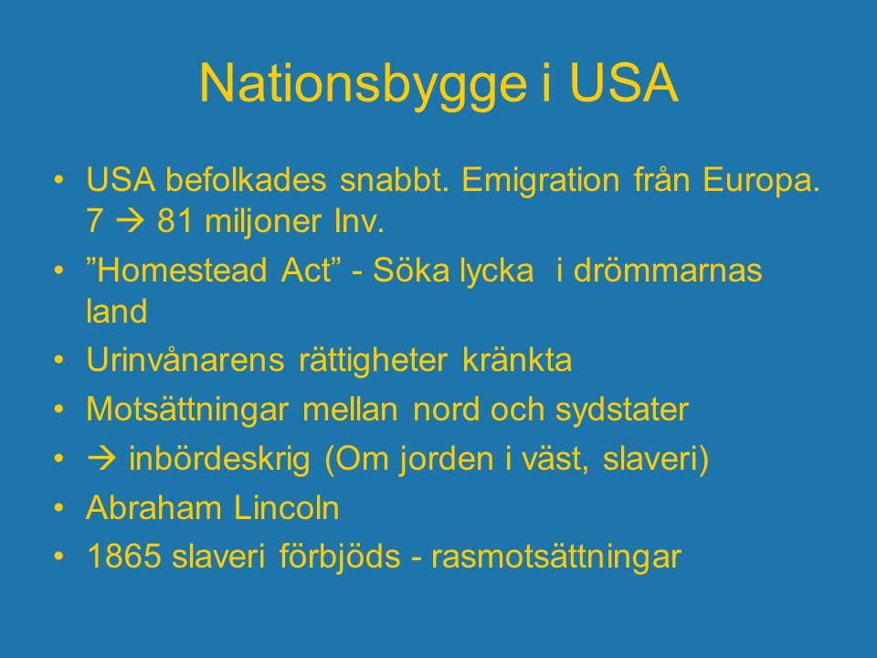 Nationsbygge i USA USA befolkades snabbt. Emigration från Europa. 7  81 miljoner Inv. Homestead Act - Söka lycka i drömmarnas land.