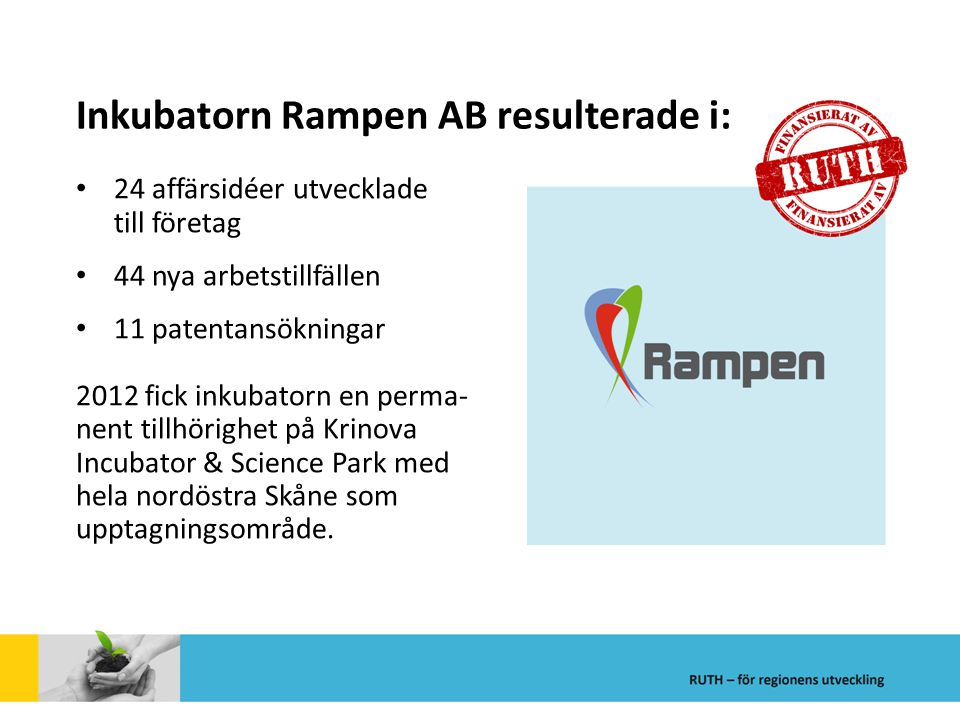 Inkubatorn Rampen AB resulterade i: