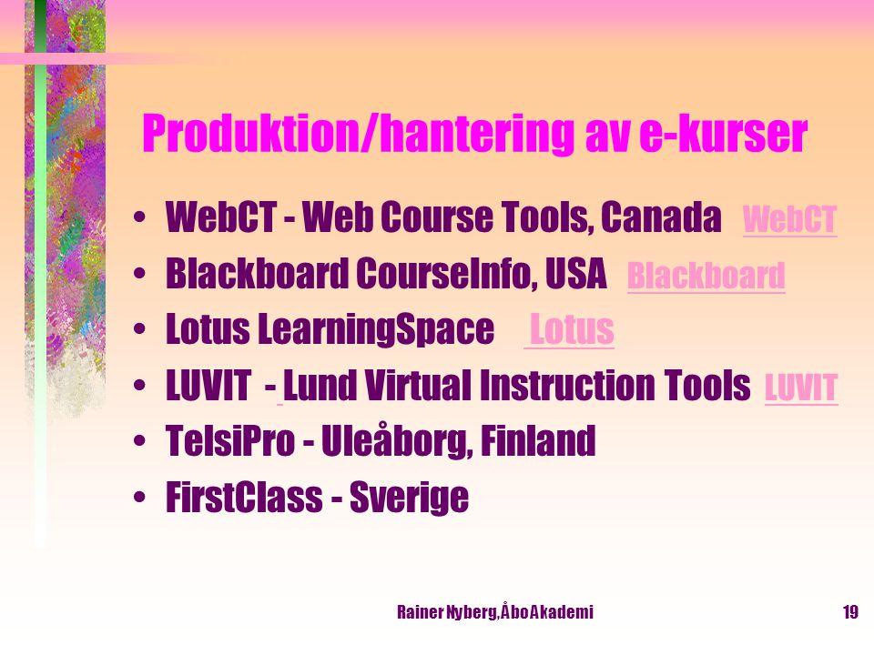 Produktion/hantering av e-kurser
