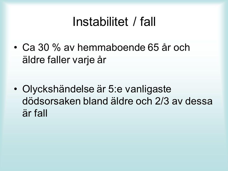 Instabilitet / fall Ca 30 % av hemmaboende 65 år och äldre faller varje år.