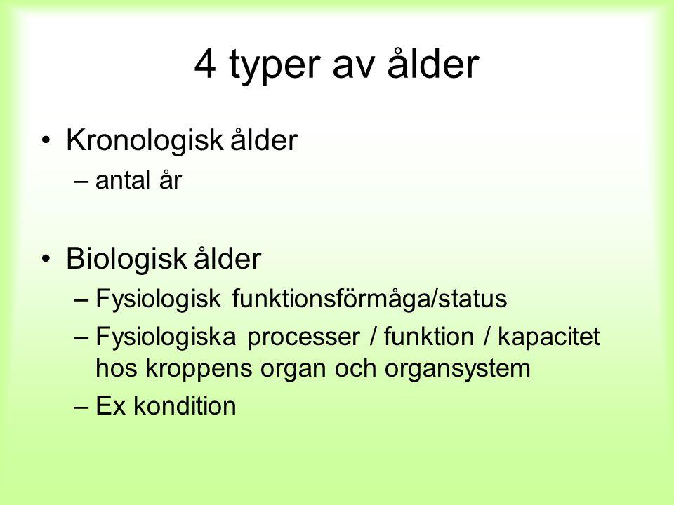 4 typer av ålder Kronologisk ålder Biologisk ålder antal år