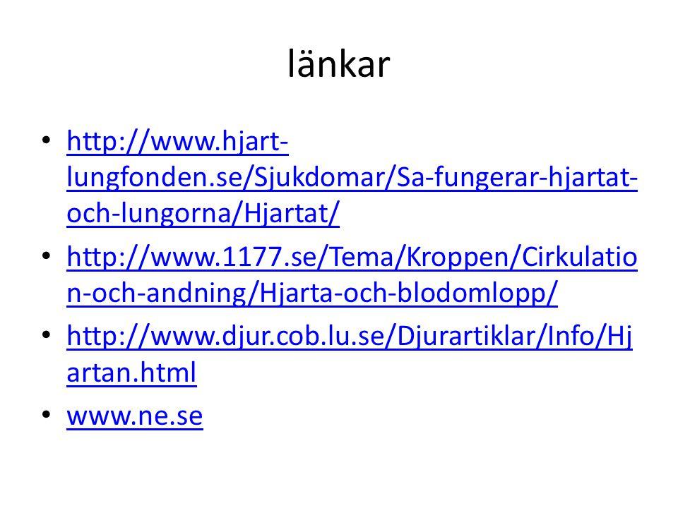 länkar http://www.hjart-lungfonden.se/Sjukdomar/Sa-fungerar-hjartat-och-lungorna/Hjartat/