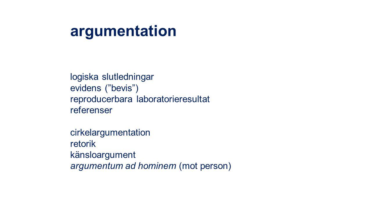 argumentation logiska slutledningar evidens ( bevis )