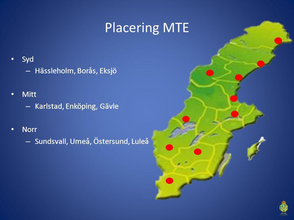 Placering MTE Syd Hässleholm, Borås, Eksjö Mitt