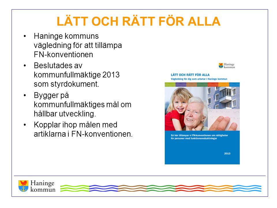 LÄTT OCH RÄTT FÖR ALLA Haninge kommuns vägledning för att tillämpa FN-konventionen. Beslutades av kommunfullmäktige 2013 som styrdokument.