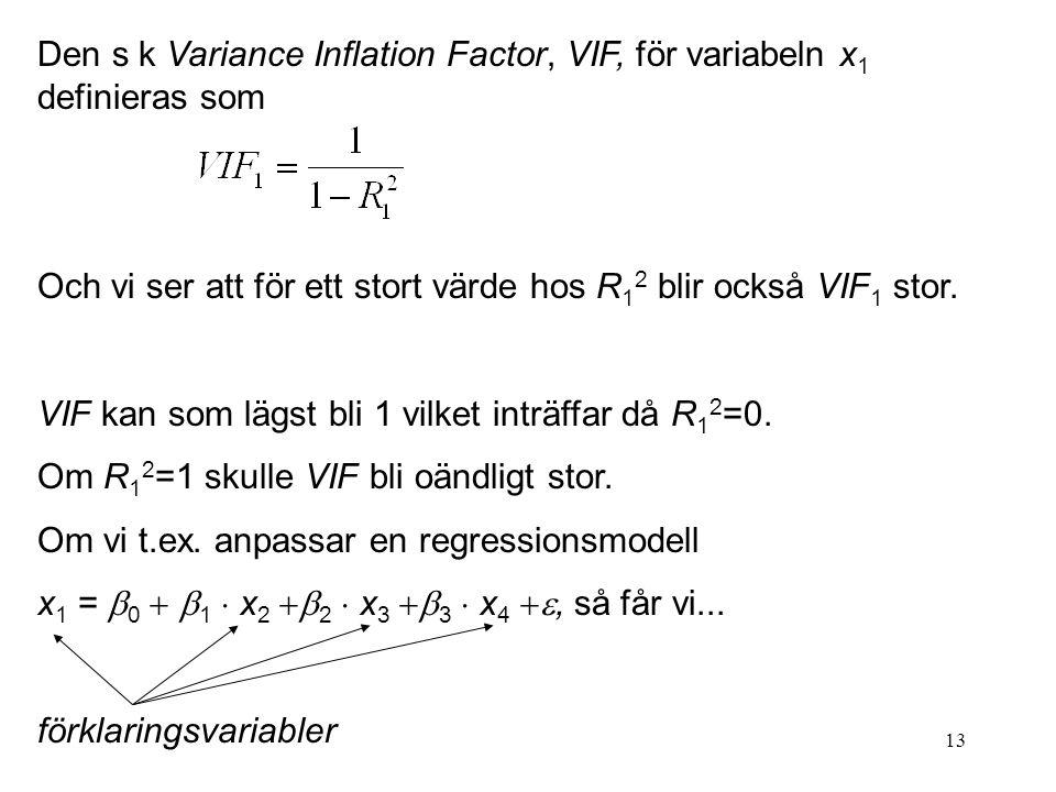 Den s k Variance Inflation Factor, VIF, för variabeln x1 definieras som