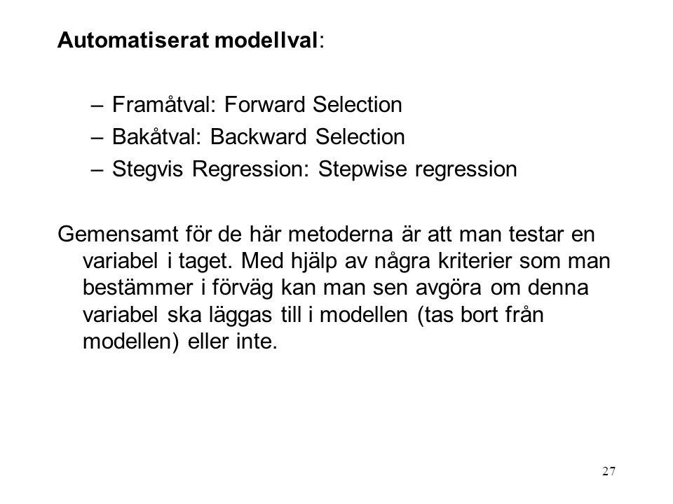Automatiserat modellval: