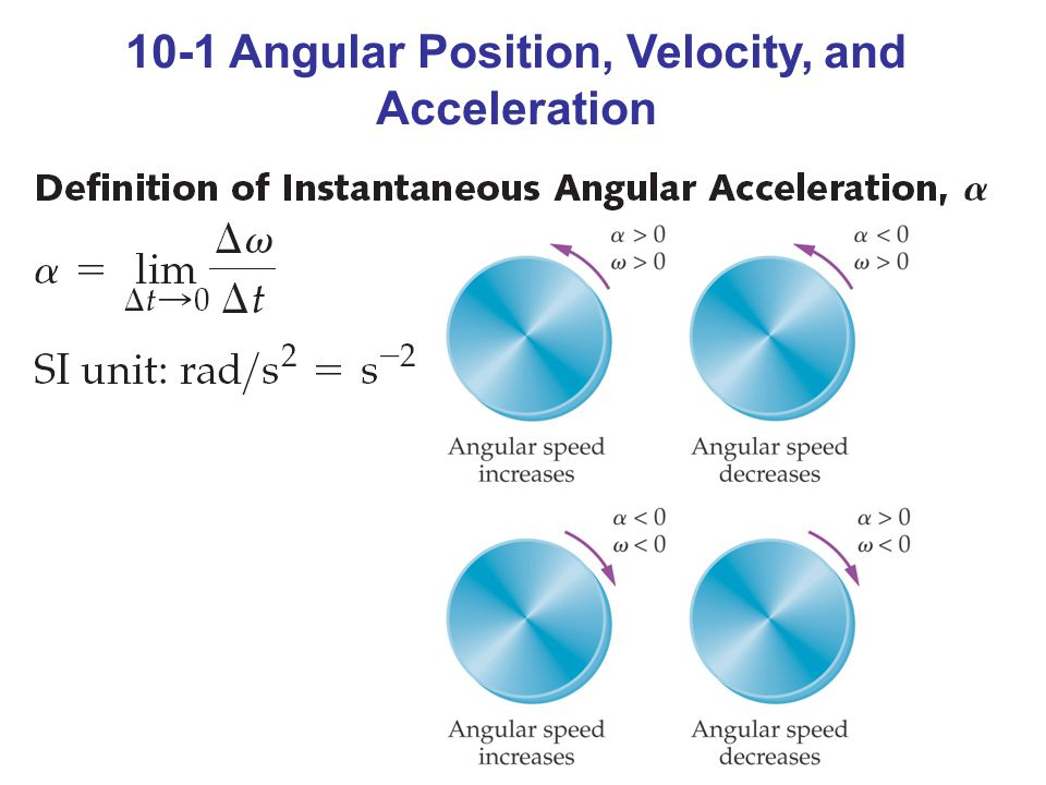10-1 Angular Position, Velocity, and Acceleration