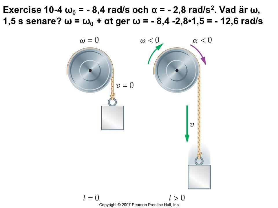 Exercise 10-4 ω0 = - 8,4 rad/s och α = - 2,8 rad/s2
