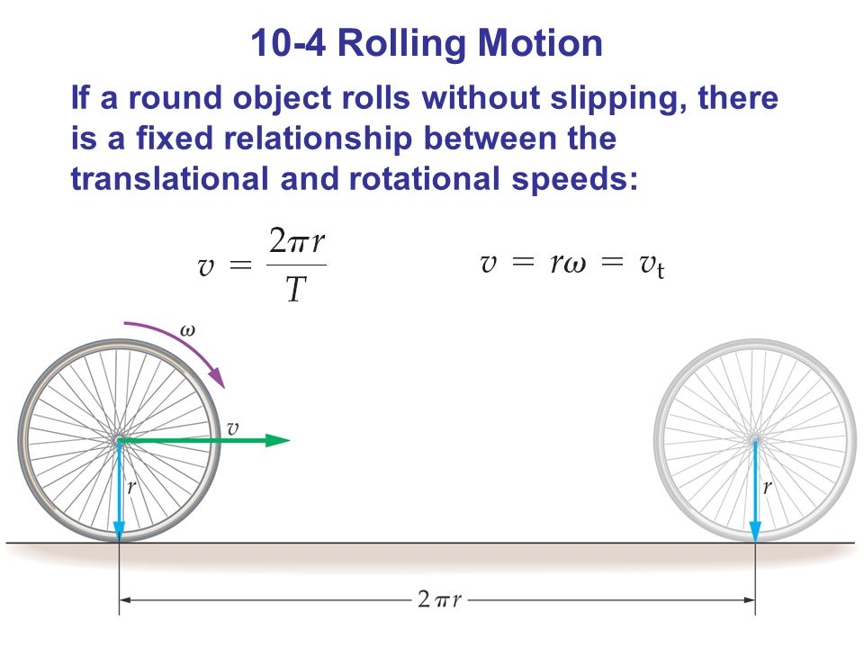 10-4 Rolling Motion If a round object rolls without slipping, there is a fixed relationship between the translational and rotational speeds: