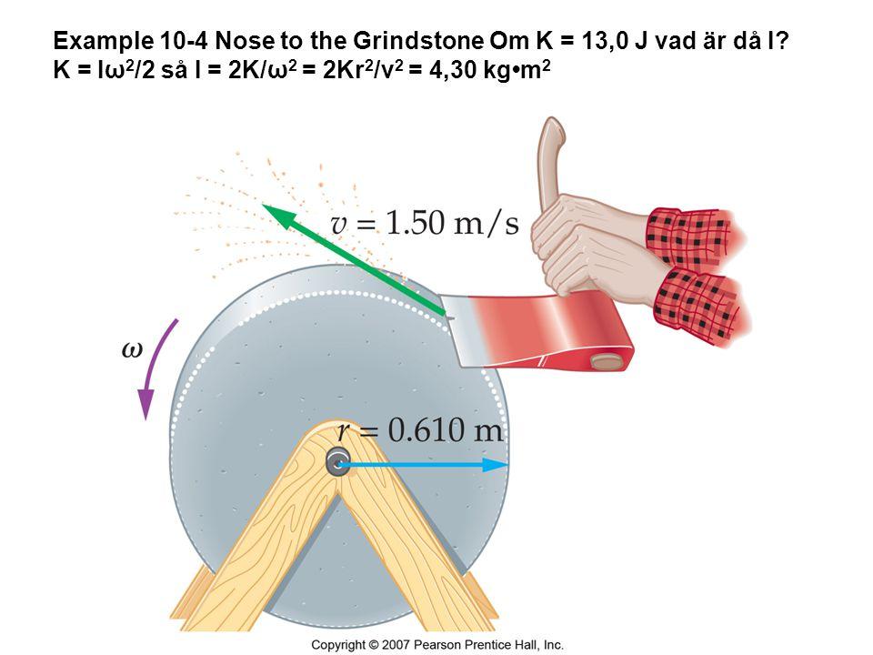Example 10-4 Nose to the Grindstone Om K = 13,0 J vad är då I