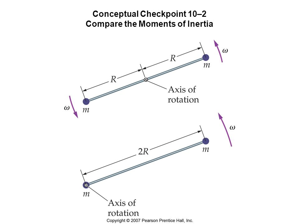 Conceptual Checkpoint 10–2 Compare the Moments of Inertia