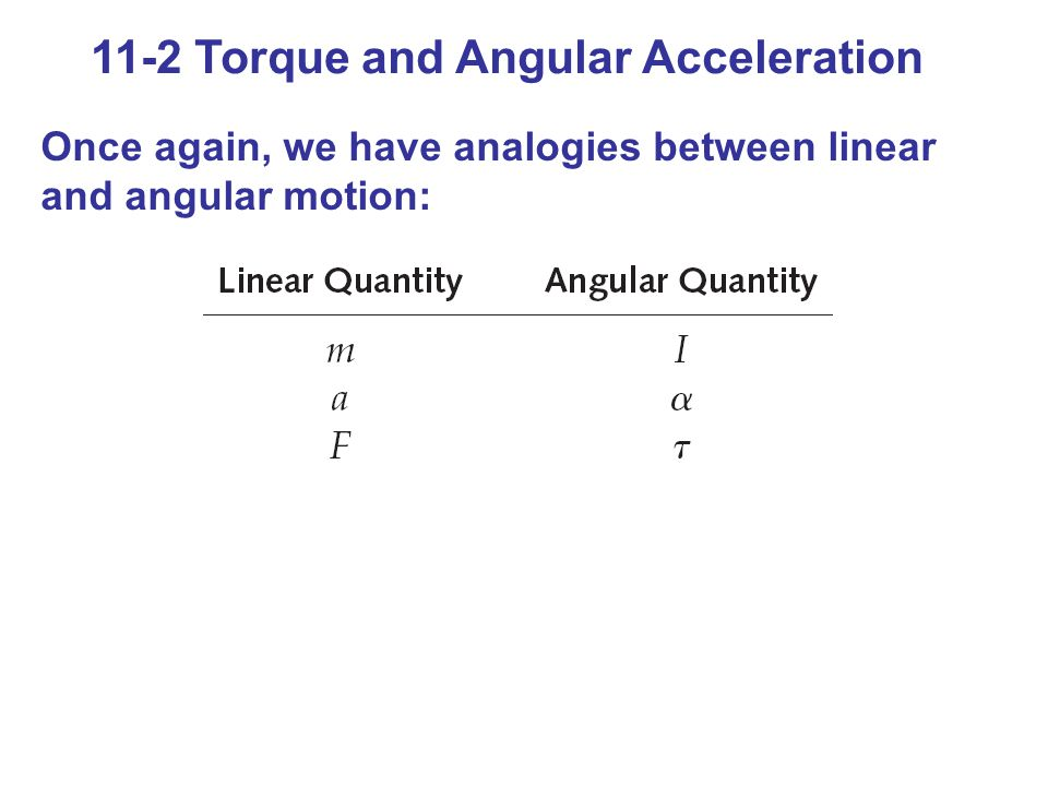 11-2 Torque and Angular Acceleration