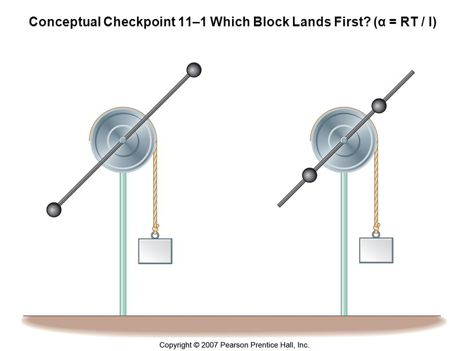 Conceptual Checkpoint 11–1 Which Block Lands First (α = RT / I)
