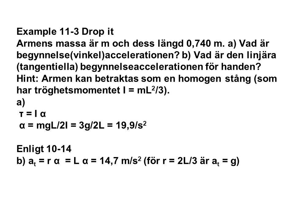 Example 11-3 Drop it Armens massa är m och dess längd 0,740 m