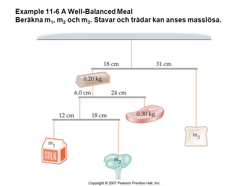 Example 11-6 A Well-Balanced Meal Beräkna m1, m2 och m3