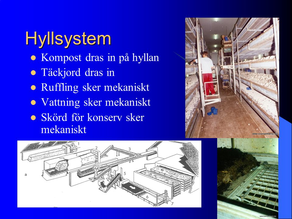 Hyllsystem Kompost dras in på hyllan Täckjord dras in