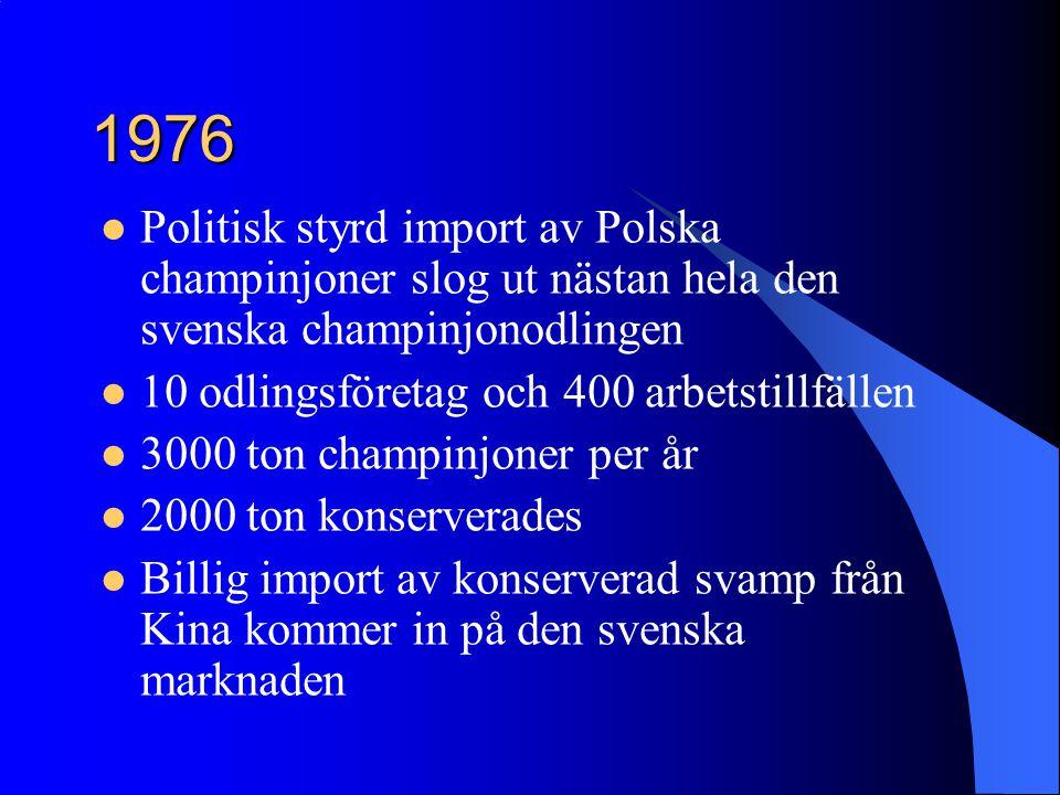1976 Politisk styrd import av Polska champinjoner slog ut nästan hela den svenska champinjonodlingen.