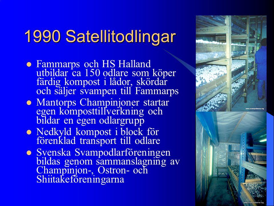 1990 Satellitodlingar Fammarps och HS Halland utbildar ca 150 odlare som köper färdig kompost i lådor, skördar och säljer svampen till Fammarps.