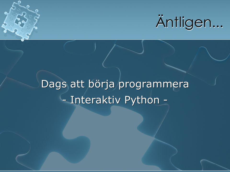 Dags att börja programmera