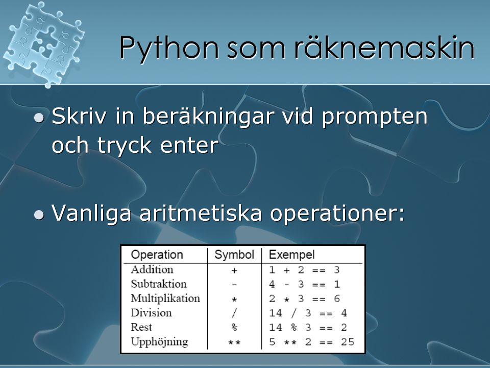 Python som räknemaskin