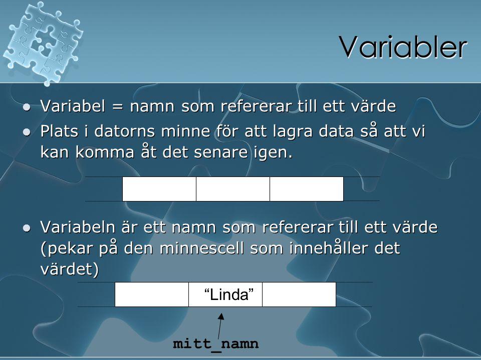 Variabler Variabel = namn som refererar till ett värde