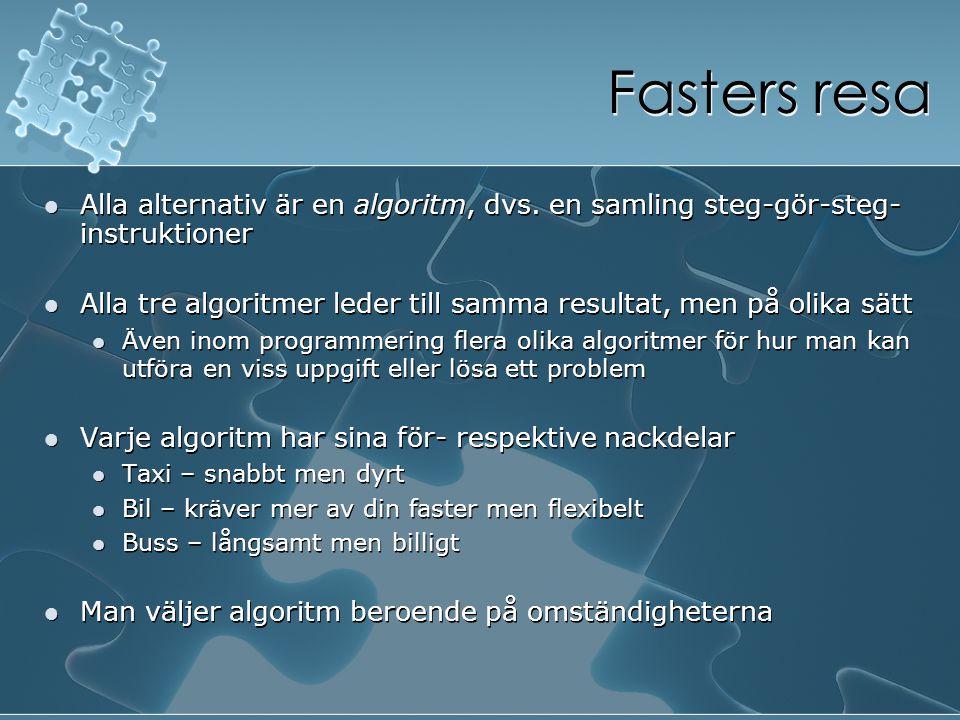 Fasters resa Alla alternativ är en algoritm, dvs. en samling steg-gör-steg-instruktioner.