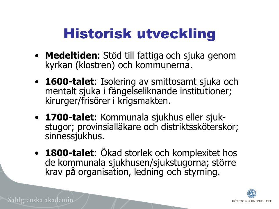 Historisk utveckling Medeltiden: Stöd till fattiga och sjuka genom kyrkan (klostren) och kommunerna.