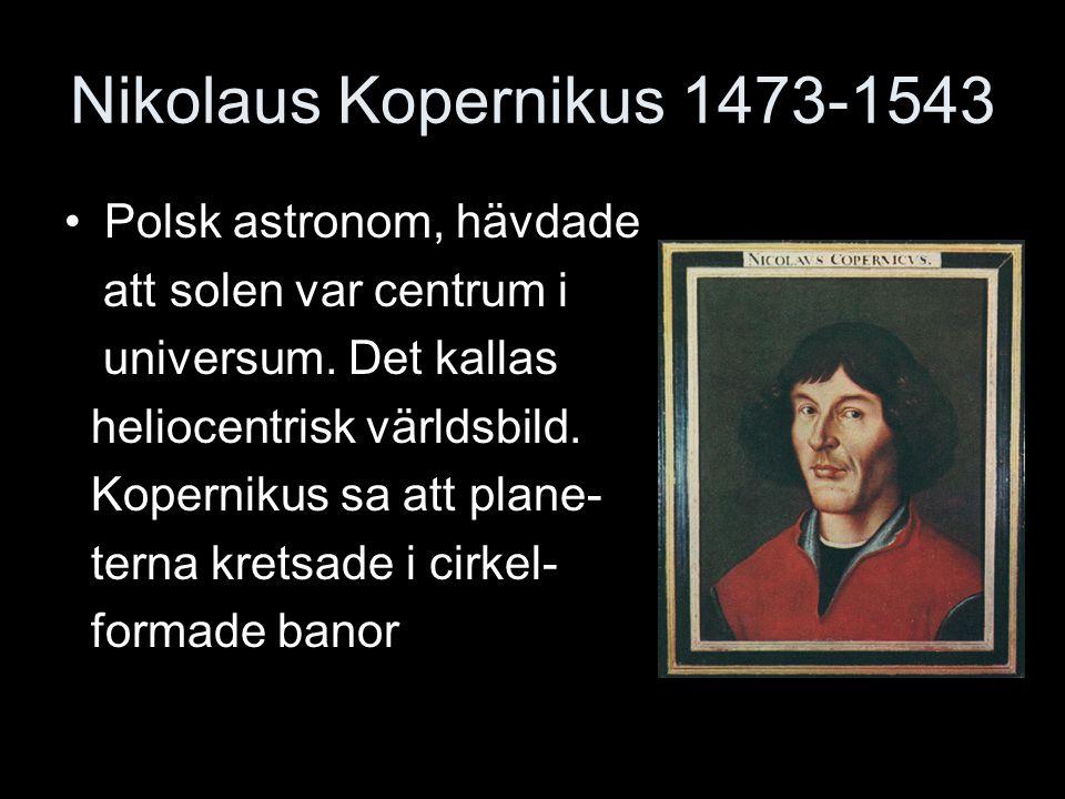Nikolaus Kopernikus 1473-1543 Polsk astronom, hävdade
