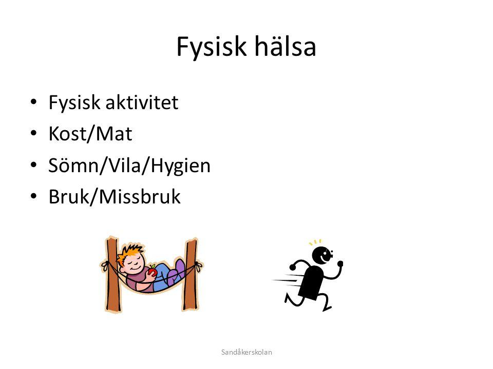 Fysisk hälsa Fysisk aktivitet Kost/Mat Sömn/Vila/Hygien Bruk/Missbruk