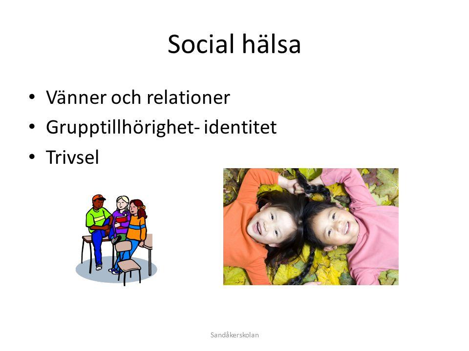 Social hälsa Vänner och relationer Grupptillhörighet- identitet