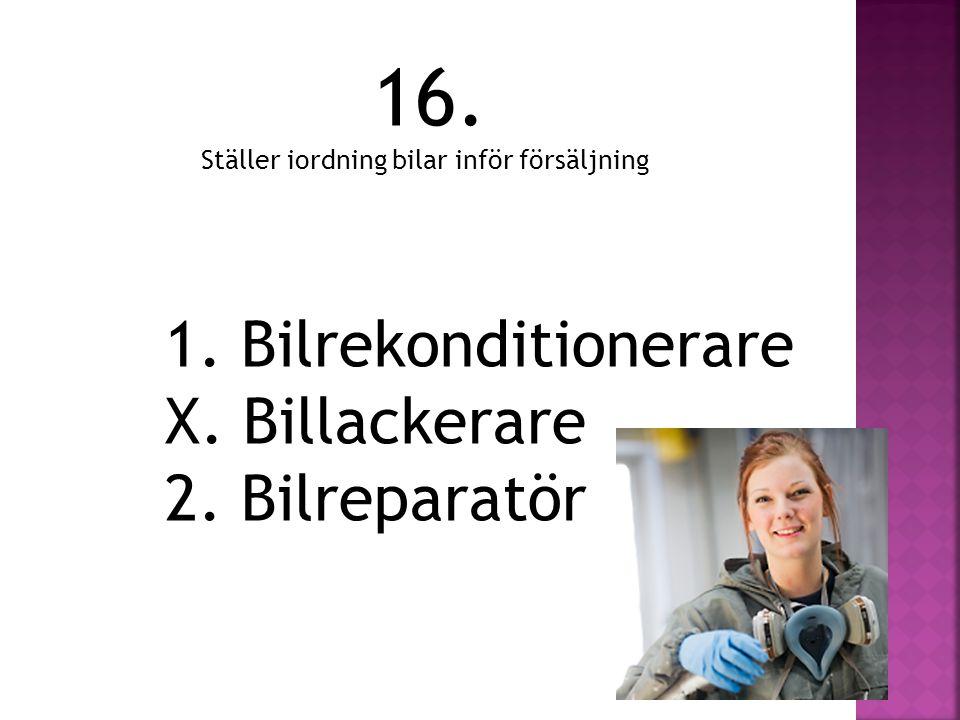 16. 1. Bilrekonditionerare X. Billackerare 2. Bilreparatör