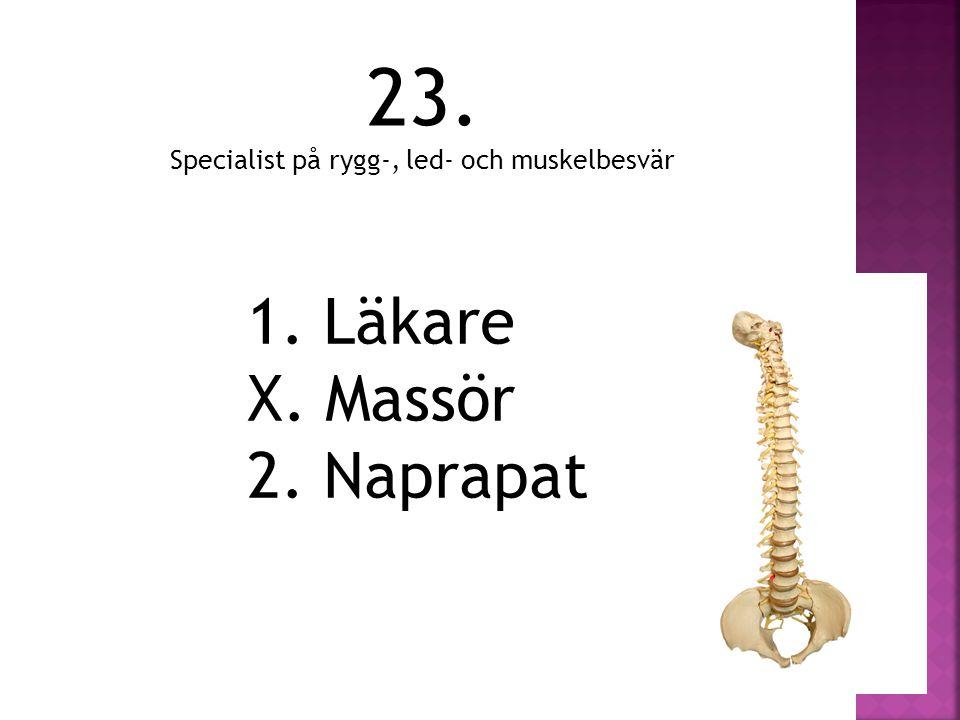 23. 1. Läkare X. Massör 2. Naprapat