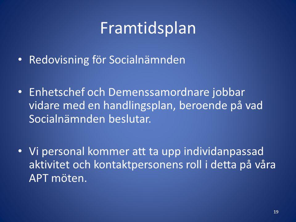 Framtidsplan Redovisning för Socialnämnden