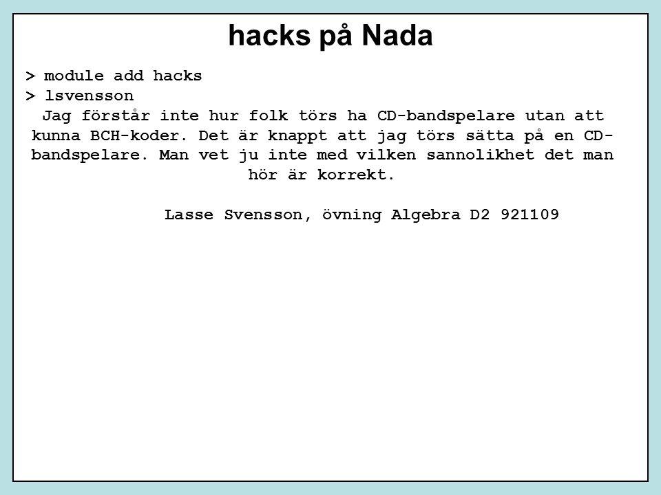 Lasse Svensson, övning Algebra D2 921109