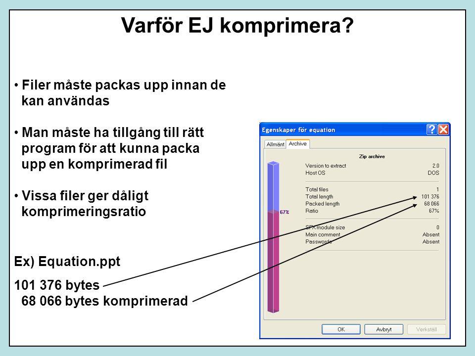 Varför EJ komprimera Filer måste packas upp innan de kan användas